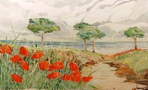 paesaggio-con-pini-e-papaveri acquerello